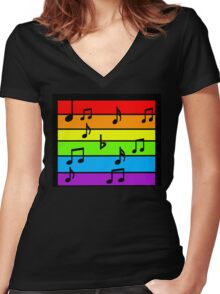 Music The Rainbow  Women's Fitted V-Neck T-Shirt