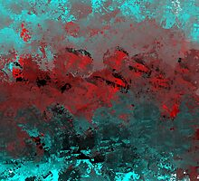 Cool Aqua and Red Abstract by Jessielee72