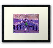 Boy and Harbour Framed Print