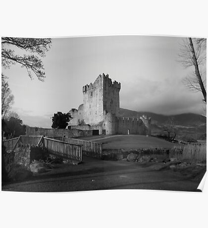 Ross Castle black and white Poster