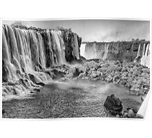 Iguazu Falls - a wider view - in monochrome Poster