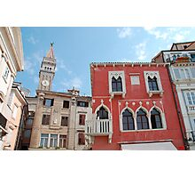 Buildings in Piran Main Square Photographic Print