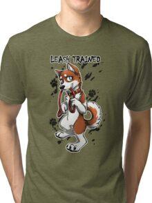 Leash Trained - Brown Husky Tri-blend T-Shirt