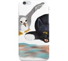 Seagull Chases Kitten on the Beach iPhone Case/Skin