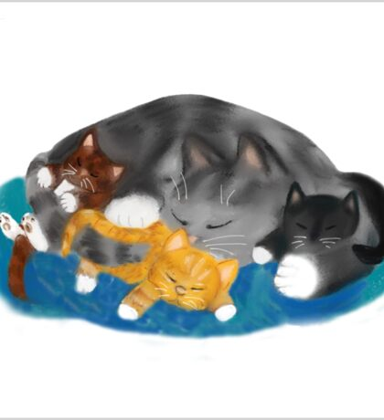 Three Kittens on Momma have a Cat Nap Sticker