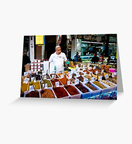the friendly spice seller Greeting Card