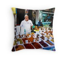 the friendly spice seller Throw Pillow