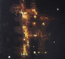 Nightlights 1 (City Road Traffic), oil on canvas, 128 x 96 cm, 2006 by Franko Camue