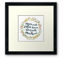 May Flowers brush script Framed Print