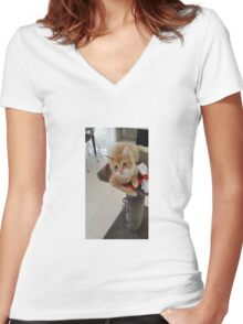 I LOVE PLAYING WITH MY TOY...... Women's Fitted V-Neck T-Shirt