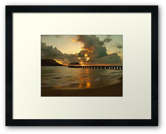 Hanalei Pier Sunset by Stephen Vecchiotti