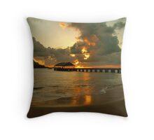 Hanalei Pier Sunset Throw Pillow