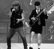 B&W- Brian Johnson & Angus Young by Honor Kyne