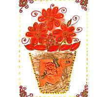 VIBRANT ORANGE FLOWERS IN VASE Photographic Print