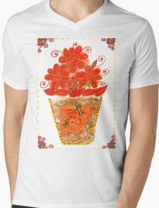VIBRANT ORANGE FLOWERS IN VASE Mens V-Neck T-Shirt