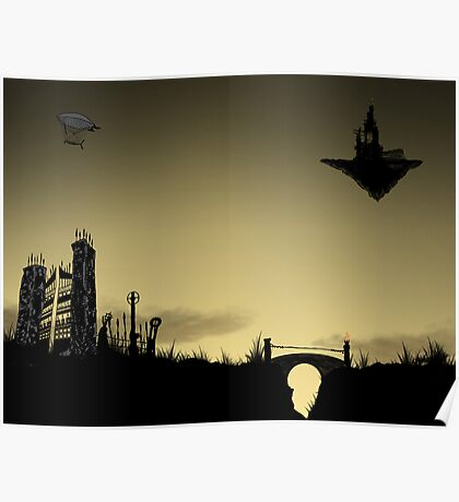 Cemetary sunset Poster