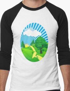 Green Grass Sunshine Elips PNG Men's Baseball ¾ T-Shirt
