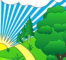 Green Grass Sunshine Elips PNG Sticker