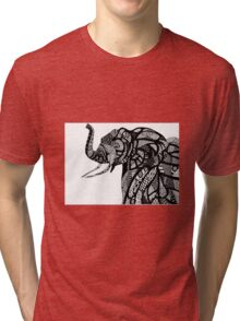 African Elephant in African Patterns Tri-blend T-Shirt