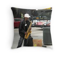 jazz-man... testifyin'.... Throw Pillow