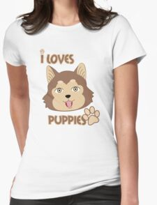 Brown Eyes Puppie Womens Fitted T-Shirt