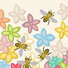 Indian Summer flowers and bees by Sharon Turner