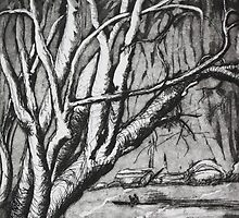 Etching: Trees over the River by Marion Chapman