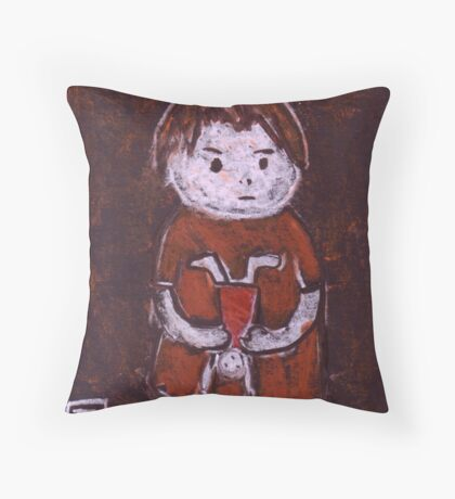 Child with a doll Throw Pillow