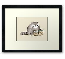 Raccoon on Bongos Framed Print