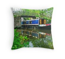 Barge at Dod`s Bridge Throw Pillow
