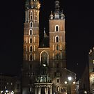 St Marys Basilica, Krakow by night. by oulgundog