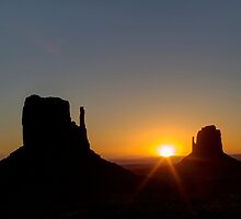 The Mittens at Sunrise Monument Valley by Roger Passman