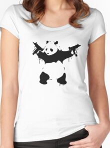 Banksy Panda With Guns Women's Fitted Scoop T-Shirt