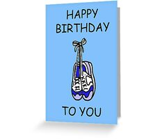 Happy Birthday to male runner, training shoes. Greeting Card