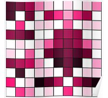 Modern Pink, Black, and White Geometric Squares Poster