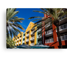 Colorful Condos and Palm Trees Canvas Print
