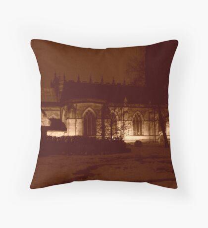 Snow Covered Church Yard Throw Pillow