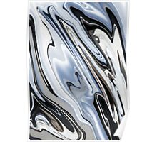 Grey and Black Metal Marbling Effect Abstract Poster