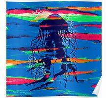 Blue Jellyfish Paintbrush Poster
