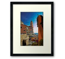 The Marina with the Church of San Giorgio - Tellaro Framed Print