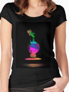 Neon Light Bulb Man Women's Fitted Scoop T-Shirt