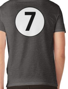 LUCKY, 7, Racing 7, SEVEN, Seventh, Number Seven, Number 7, Seven, Competition, BRITISH RACING GREEN Mens V-Neck T-Shirt