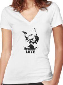 NO-KILL UNITED : ES LOVE Women's Fitted V-Neck T-Shirt