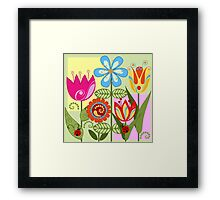 Whimsical flowers and Ladybugs Framed Print