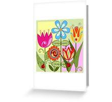 Whimsical flowers and Ladybugs Greeting Card