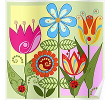 Whimsical flowers and Ladybugs Poster