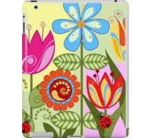 Whimsical flowers and Ladybugs iPad Case/Skin