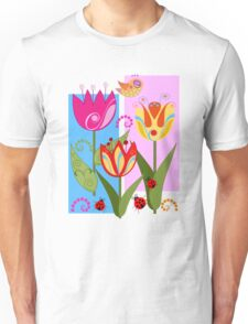 Whimsical flowers and Ladybugs Unisex T-Shirt