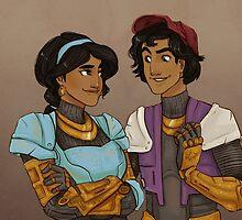 Disney Jaegers - Jasmine and Aladdin  by jiinsy