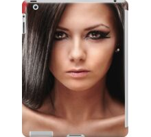 Sexy glamour brunette on red background iPad Case/Skin